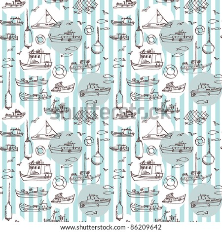 Seamless sea hand-drawn pattern - stock vector