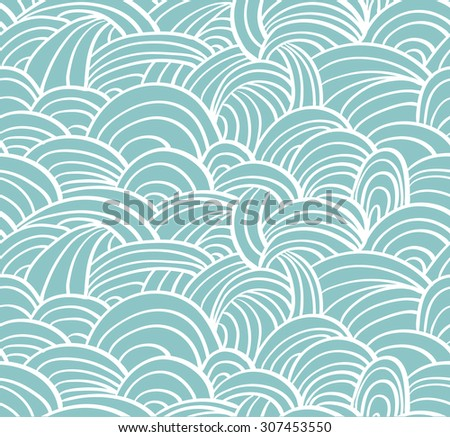 Seamless sea hand-drawn pattern, waves background.