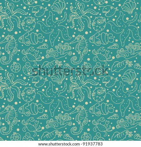Seamless sea monster pattern in cartoon style - stock vector