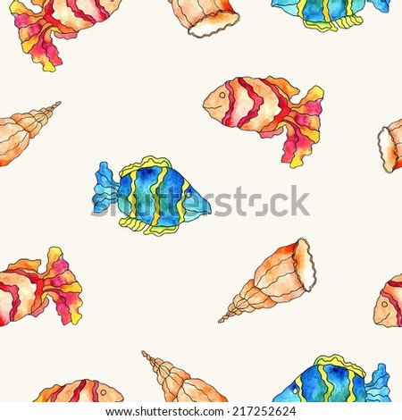 Seamless sea pattern. Fishes and shells background. Sea life. - stock vector