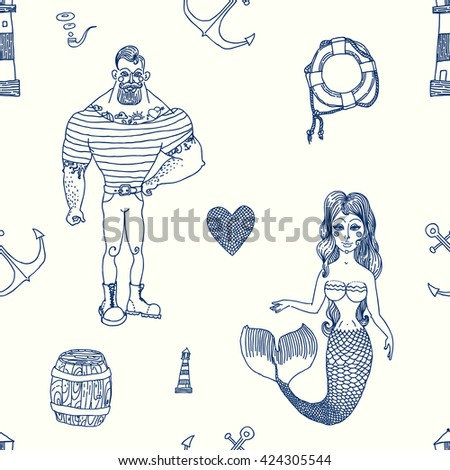 Seamless sea pattern. Vector illustration with marine elements. - stock vector