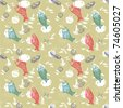 Seamless sea pattern with colorful fish - stock vector