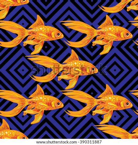 Seamless sea pattern with gold fish. Summer vector background. Perfect for wallpapers, pattern fills, web page backgrounds, surface textures, textile