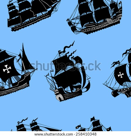 Seamless sea pattern with silhouettes of pirate sailing vessels on blue background - stock vector