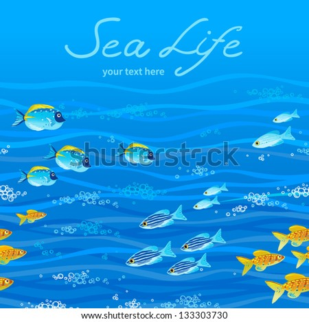 Seamless sea pattern with tropical fishes and a place for text. Border with sea fishes. - stock vector