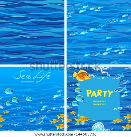Seamless sea patterns with tropical fishes. You can place your text in the empty place. Border and design template with sea fishes. - stock vector