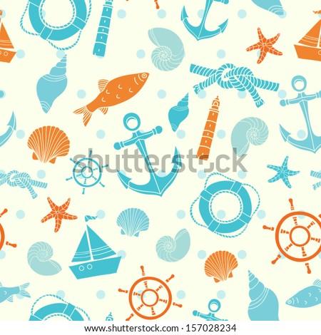 Seamless sea vector pattern - stock vector
