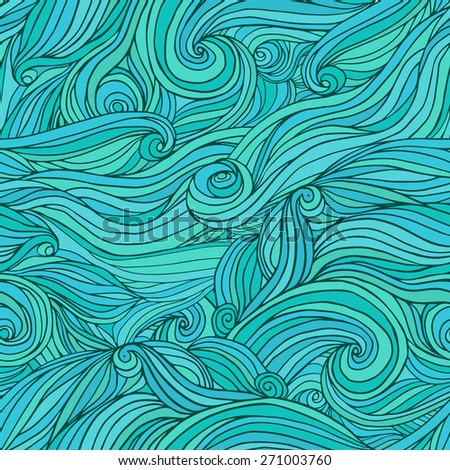 Seamless sea waves hand-drawn pattern, abstract background.