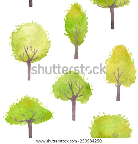 Seamless seasonal background with green trees. Vector watercolor. - stock vector