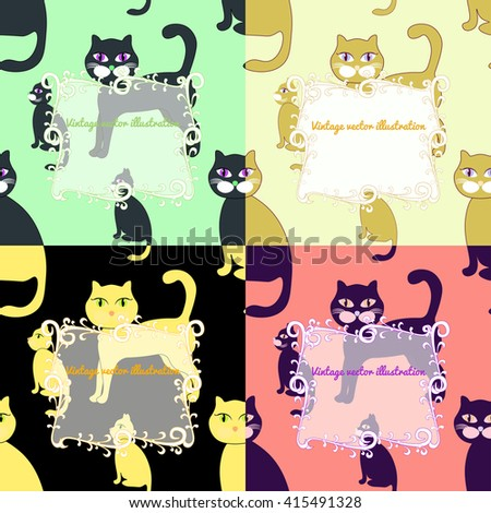 seamless set of cats for greeting card. vector illustration
