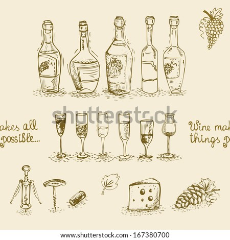 Seamless set of isolated wine bottles and glasses vector illustration - stock vector
