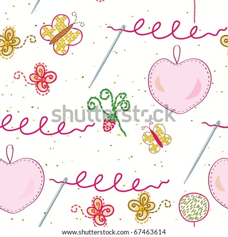 Seamless sewing and embroidery pattern - stock vector