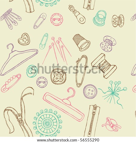 Seamless sewing objects - stock vector