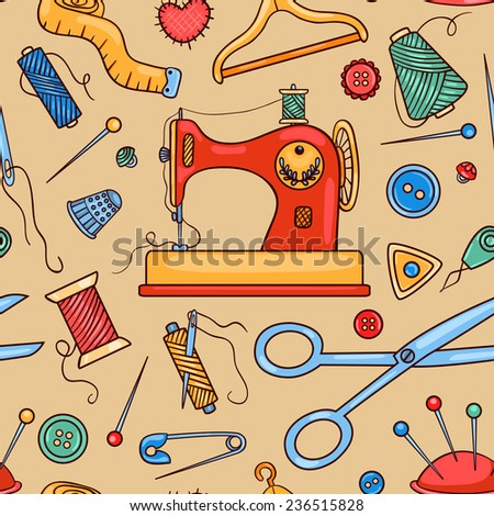 Seamless sewing pattern. Vector cartoon background. - stock vector