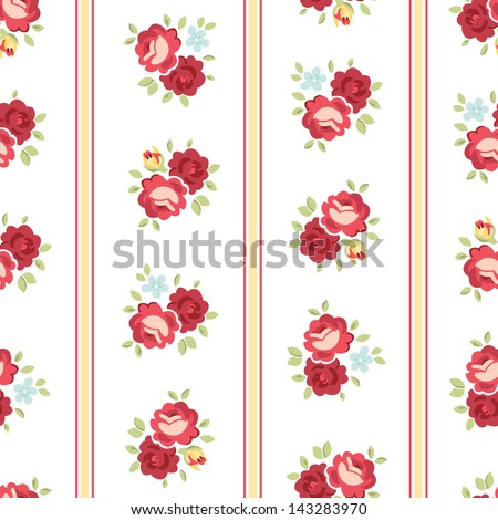 Seamless Shabby Chic inspired Rose Pattern, vector background - stock vector
