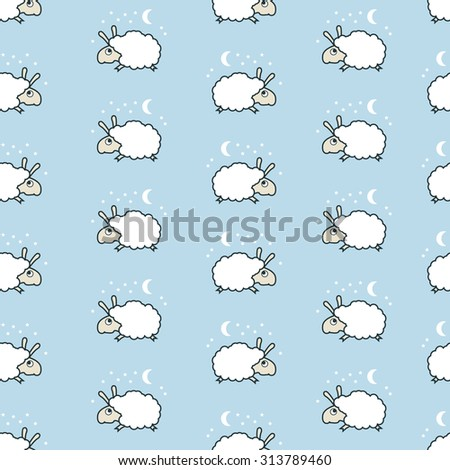 seamless sheep pattern. Lamb jumping.