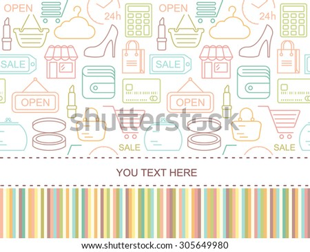 Seamless shopping background with colorful line style icons. Linear style fashion pattern with place for text.