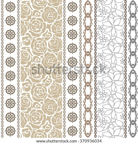 Seamless silk wallpaper with vintage roses and boho style stripes. Set of floral and geometrical vector patterns. Vintage collection. Backgrounds & textures shop. - stock vector