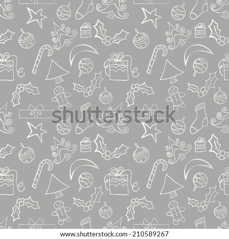 Seamless silver christmas pattern with Christmas accessories