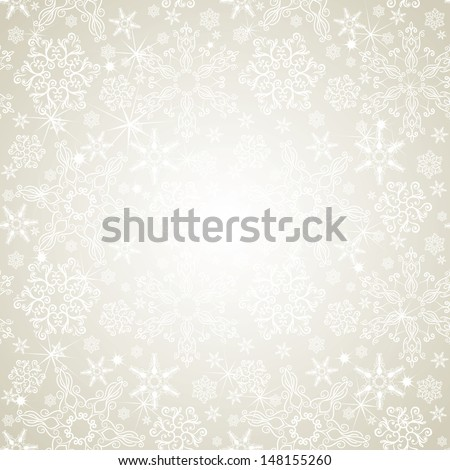 Seamless silver snowflakes background - stock vector