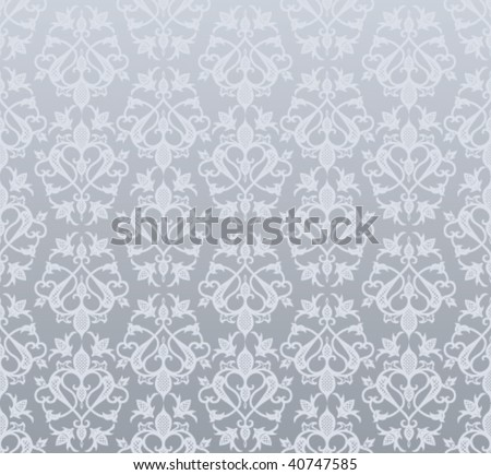 Seamless silver wallpaper  in  vintage style - stock vector