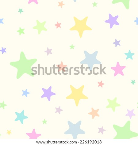 Seamless simple light pastel festive  patterns with  colored stars with rounded corners