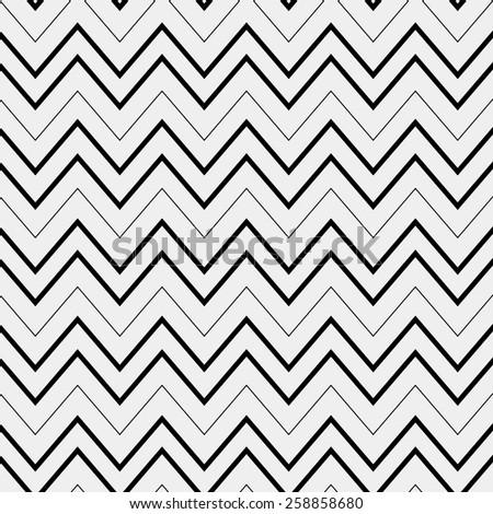 Seamless simple monochrome minimalistic pattern. Modern stylish texture. Zigzag - stock vector