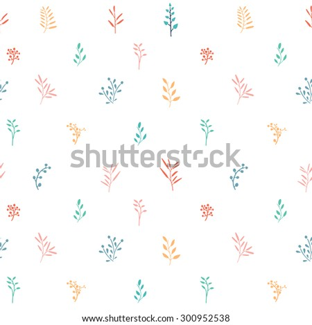 Seamless simple pattern pastel colors with leaves, plants, branches. Vector. - stock vector