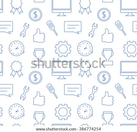Seamless simple vector pattern in flat modern style, thin line icons collection on white background, SEO and IT texture, background for banner or website header, computer, smartphone, like - stock vector