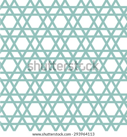 Seamless six side magic star with diagonal line pattern, geometric background