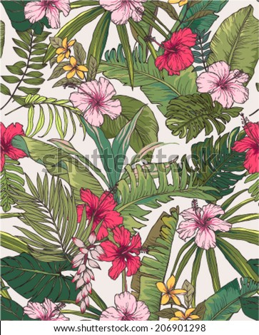 seamless sketch tropical flower summer print vector pattern background - stock vector