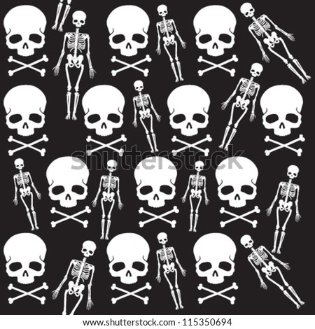 Seamless skull pattern for Halloween or any other scary occasions - stock vector