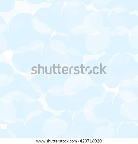 Seamless sky background with stylish light blue round clouds - stock vector