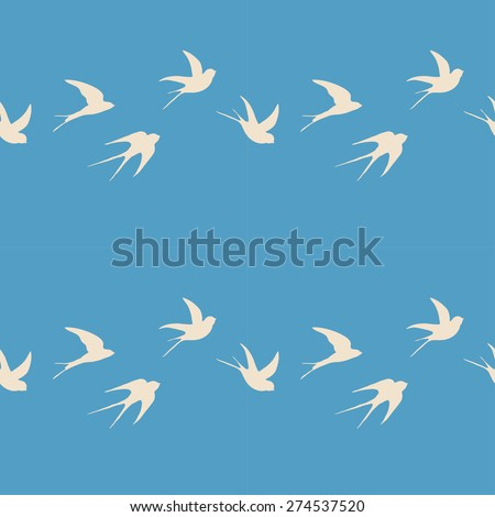 seamless sky pattern with bird silhouettes - stock vector