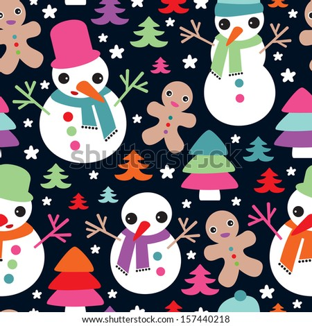Seamless snow man and ginger bread man christmas friends illustration background pattern in vector - stock vector