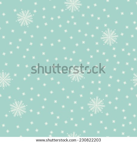 Seamless snowflake pattern, pattern fill expanded, seamless pattern included in swatch palette