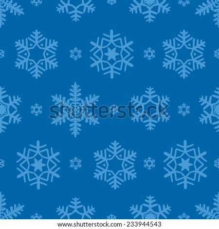 Seamless snowflake pattern vector background for continuous replicate.