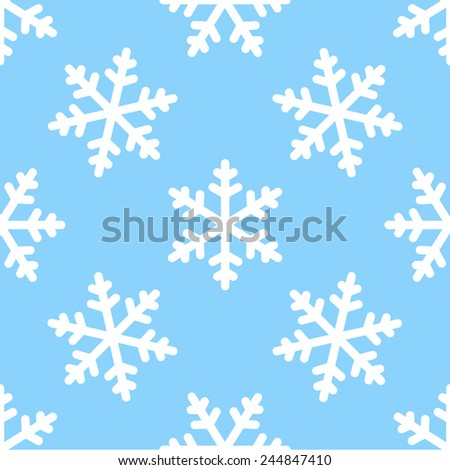 seamless snowflake pattern winter background - stock vector