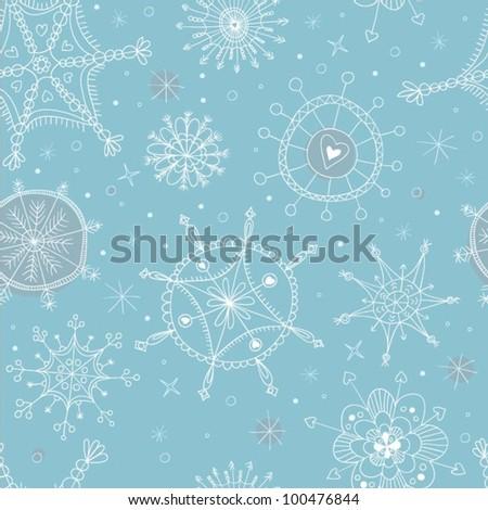 Seamless Snowflakes Pattern - stock vector