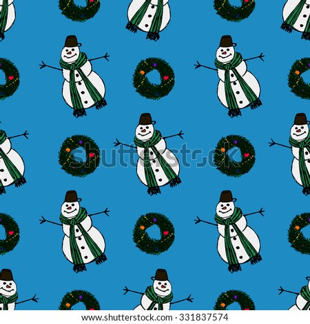 Seamless Snowman Christmas Pattern - stock vector