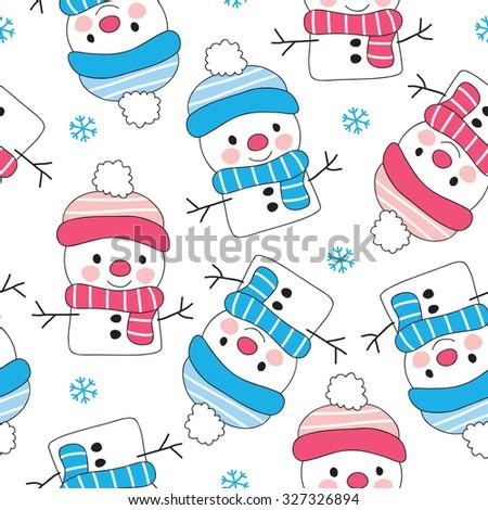 seamless snowman pattern vector illustration - stock vector