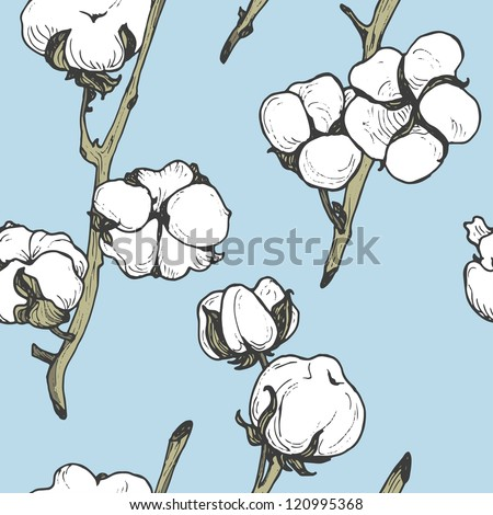 Seamless soft cotton floral pattern on blue sky background - stock vector