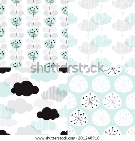 Seamless soft pastel clouds and flower blossom illustration background collection set pattern in vector - stock vector