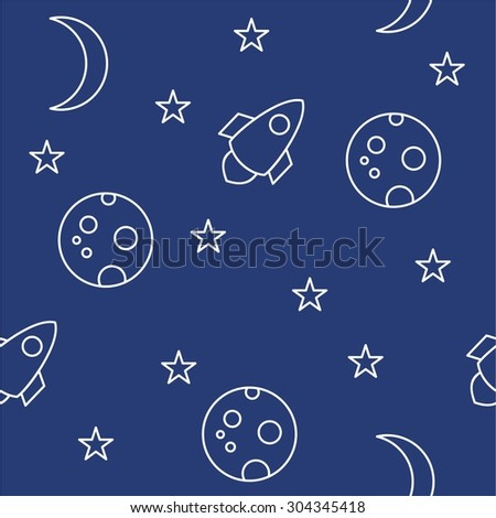 Seamless Space Line Pattern with moon, stars and rocket on blue background.
