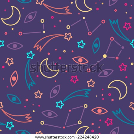 Seamless space pattern. Adventure time style. Kid's elements for scrap-booking. Childish background. Hand drawn vector illustration. - stock vector