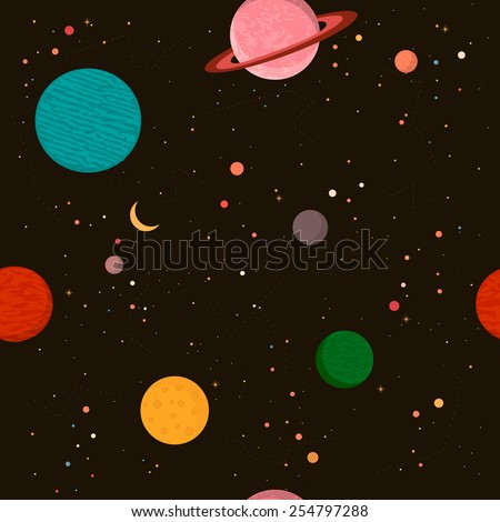 Seamless space pattern. Planets and galaxy. Vector illustraions. - stock vector