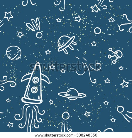 Seamless space pattern. Starry sky, planets, rockets and stars.Beautiful hand drawn vector illustration.