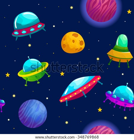 Seamless space pattern with cartoon planets and space ships. Vector flat illustration. - stock vector