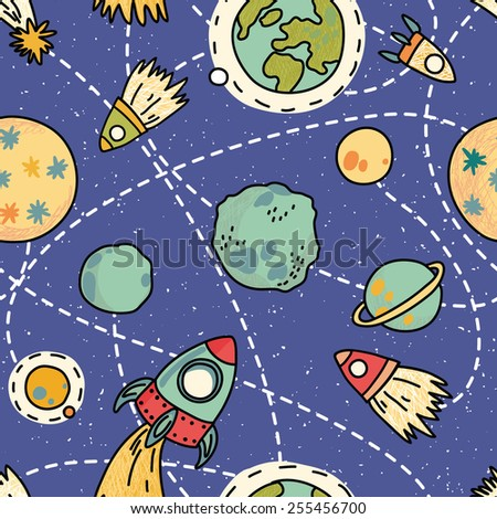 Seamless space pattern with planets, rockets and stars. Childish background. Hand drawn vector illustration. - stock vector