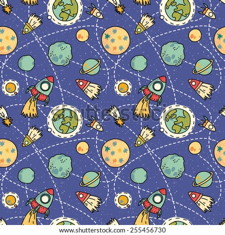 Seamless space pattern with space, rockets, comet and planets. Childish background. Hand drawn vector illustration. - stock vector